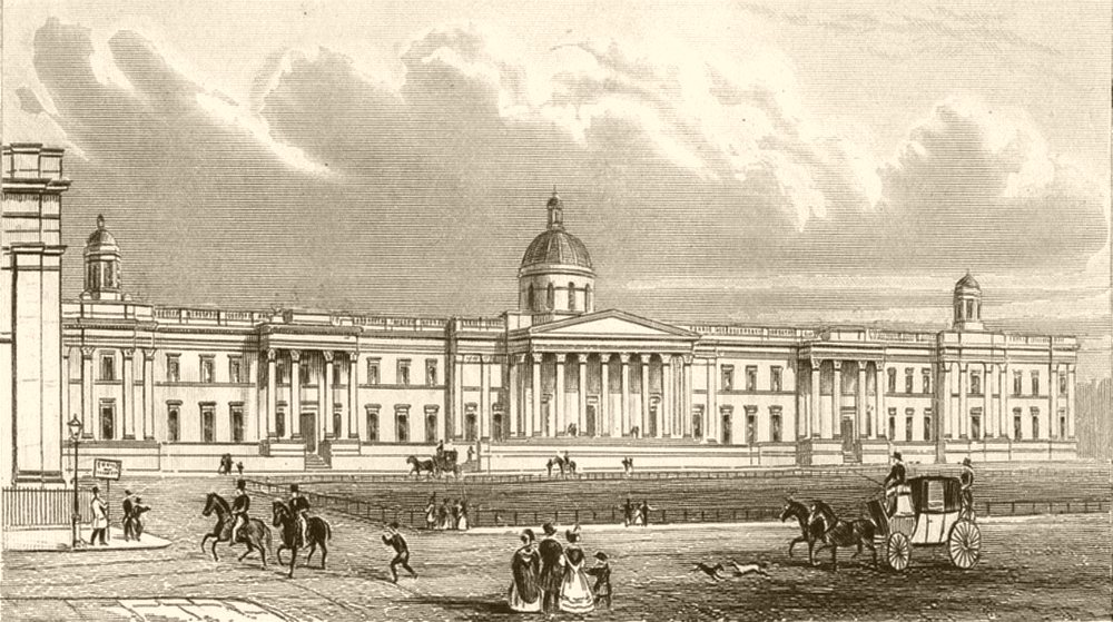Associate Product LONDON. The National Gallery, Trafalgar square. DUGDALE 1845 old antique print