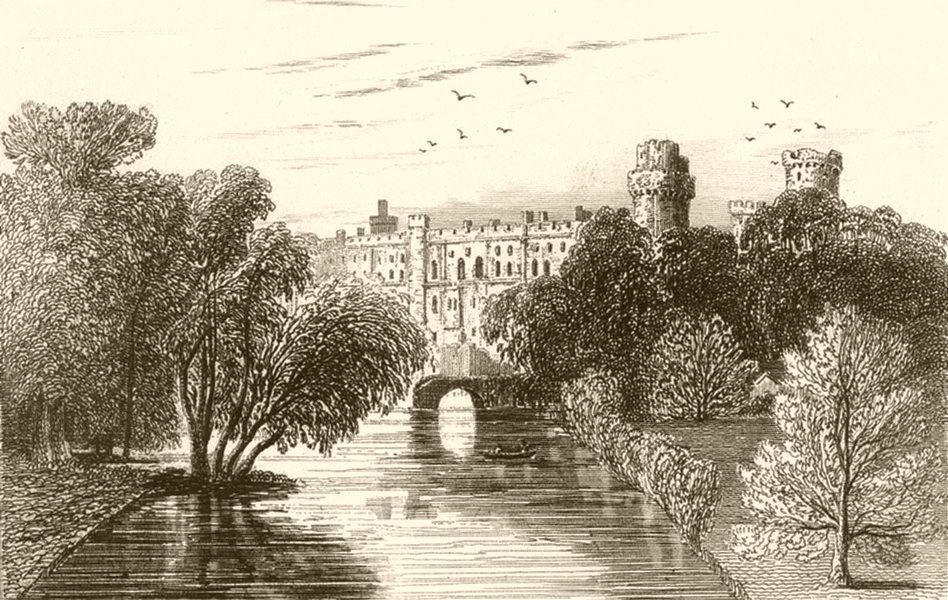 Associate Product WARWICKSHIRE. Warwick Castle, Warwickshire. DUGDALE 1845 old antique print