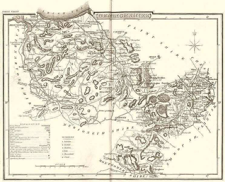 Associate Product DENBIGHSHIRE. County map. Polling places. Coach roads. DUGDALE 1845 old