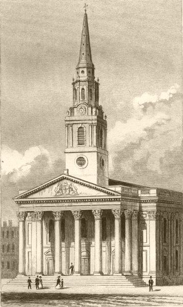 Associate Product LONDON. St Martin's Church, St Martin's Lane, London. DUGDALE 1845 old print