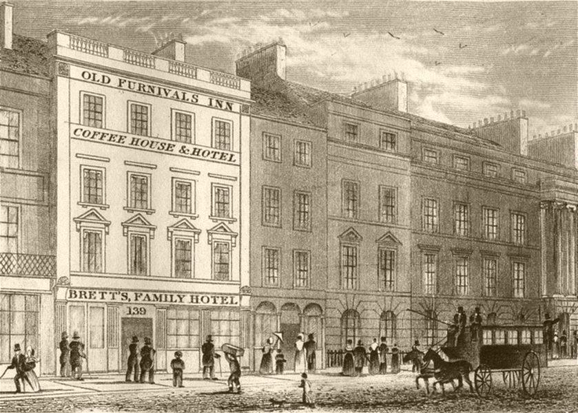 Associate Product LONDON. Holborn Bars on the Summit of Holborn hill. DUGDALE 1845 old print