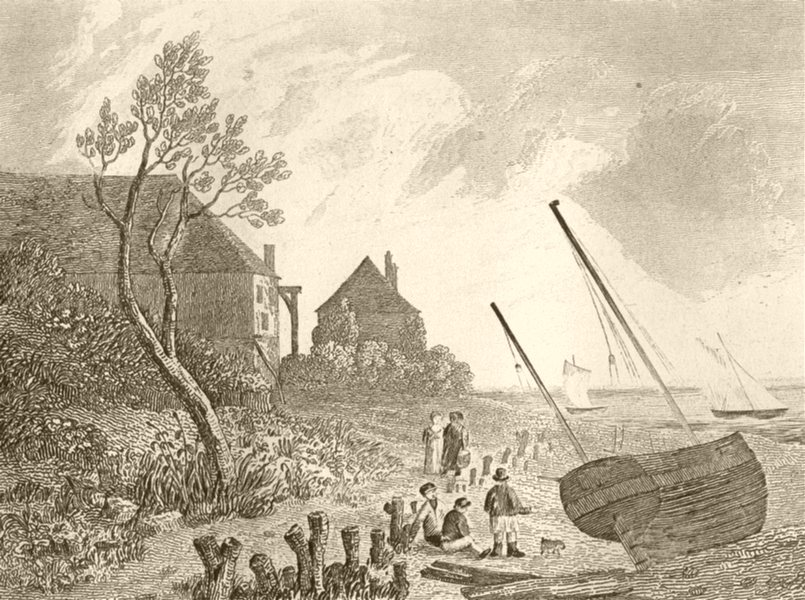 Associate Product ISLE OF WIGHT. Near Cowes, I W. DUGDALE 1845 old antique vintage print picture