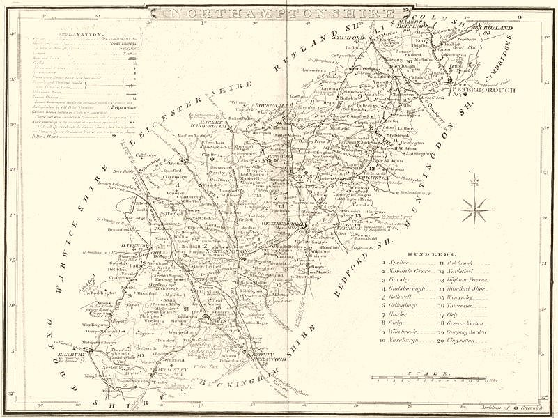 Associate Product NORTHAMPTONSHIRE. County map. Polling places. Coach roads. DUGDALE 1845