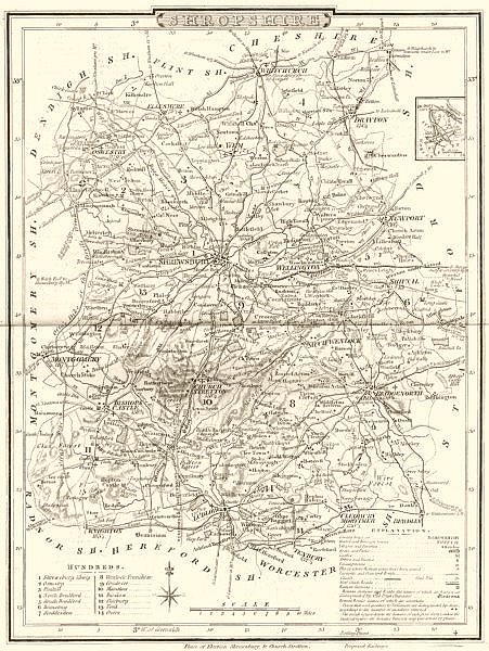 Associate Product SHROPSHIRE. County map. Polling places. Coach roads. DUGDALE 1845 old