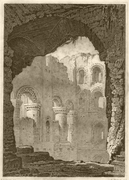 Associate Product KENT. Interior at the keep Rochester Castle, Kent. DUGDALE 1845 old print