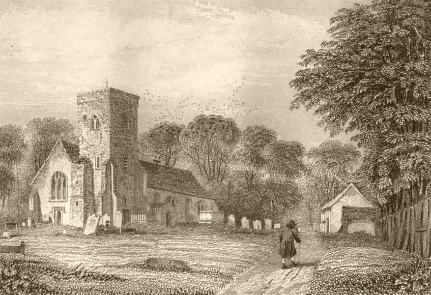 Associate Product LONDON. Willesden church, Middlesex. DUGDALE 1845 old antique print picture