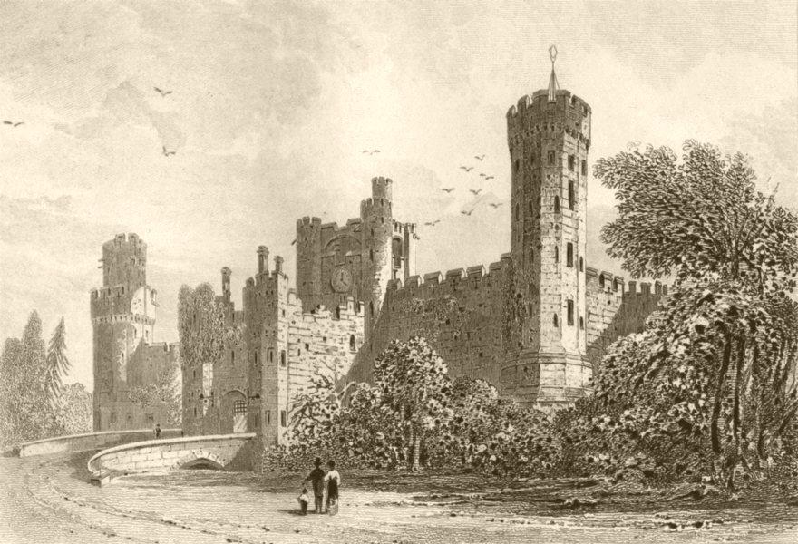 Associate Product WARWICKSHIRE. Warwick Castle. DUGDALE 1845 old antique vintage print picture