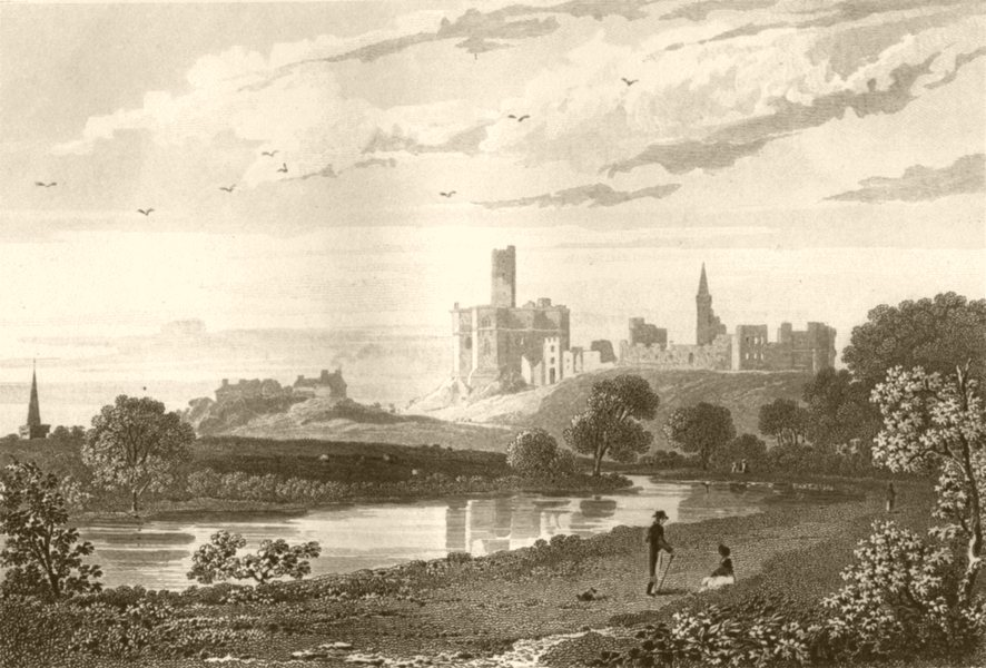 Associate Product NORTHUMBERLAND. Warkworth Castle. DUGDALE 1845 old antique print picture