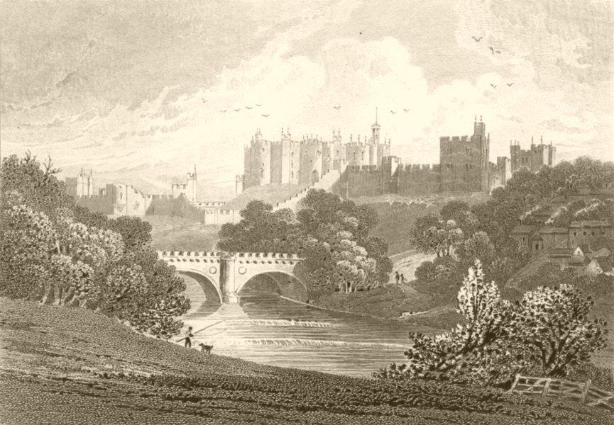 Associate Product NORTHUMBERLAND. Alnewick Castle, Northumberland. DUGDALE 1845 old print