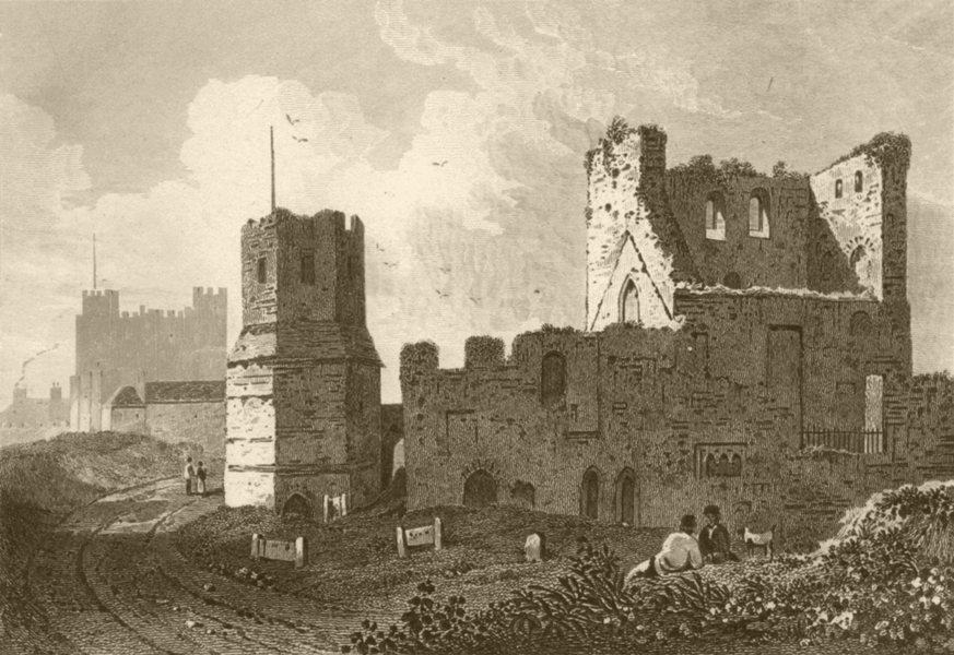 Associate Product KENT. The Roman Pharos, Dover Castle. DUGDALE 1845 old antique print picture
