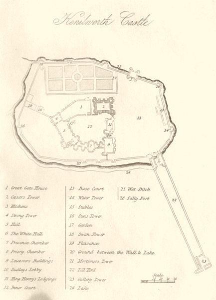 Associate Product WARWICKSHIRE. Kenilworth Castle. DUGDALE 1845 old antique map plan chart