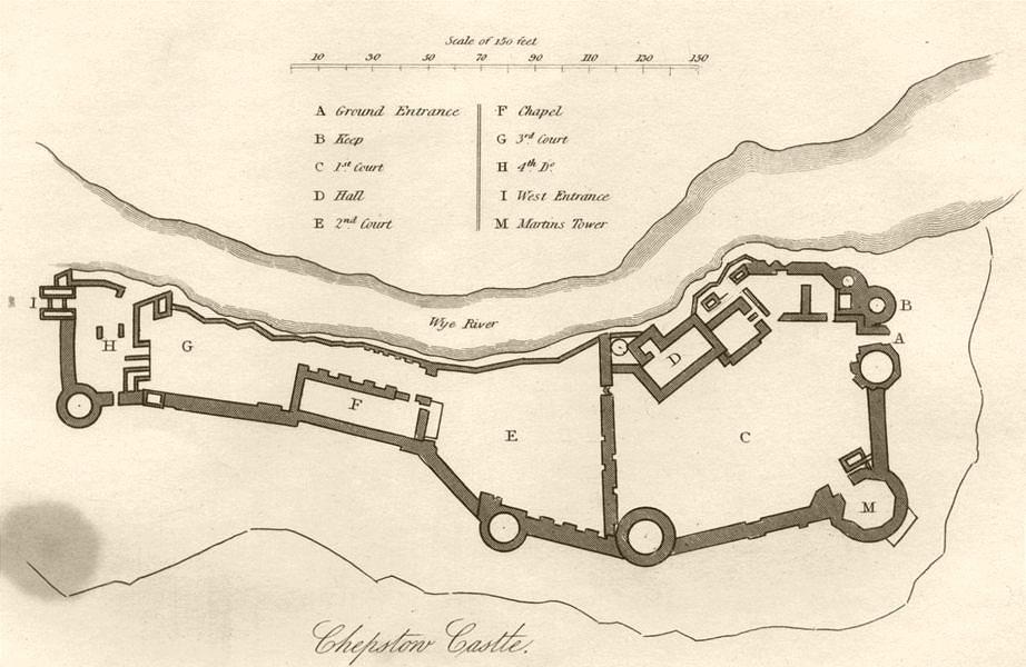 Associate Product WALES. Chepstow Castle. DUGDALE 1845 old antique vintage map plan chart