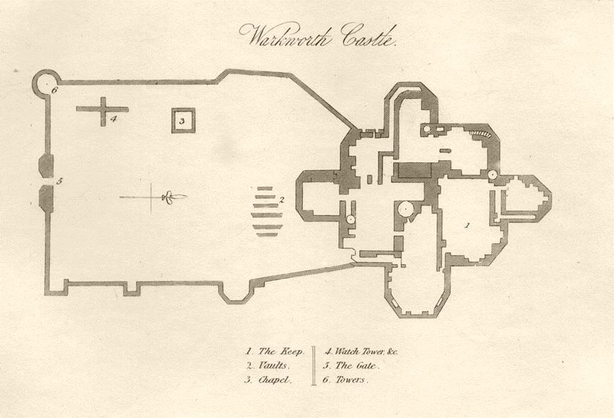 Associate Product NORTHUMBERLAND. Warkworth Castle. DUGDALE 1845 old antique map plan chart