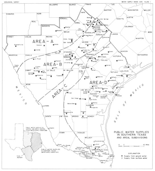 TEXAS. Public water supplies in Southern Texas and Areal Subdivisions 1944 map