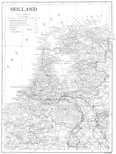 Associate Product NETHERLANDS. Holland 1910 old antique vintage map plan chart