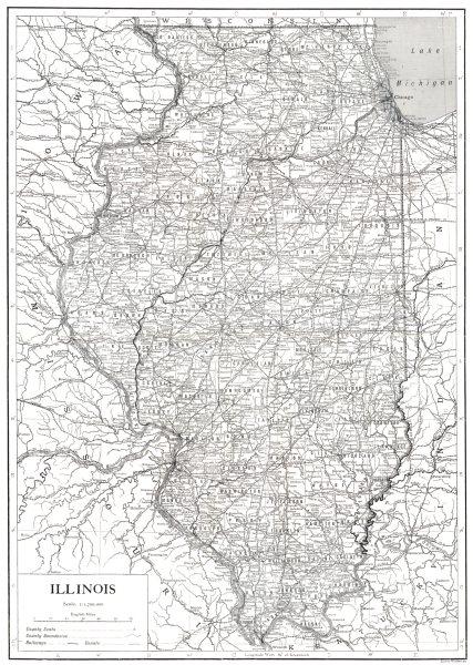 Associate Product ILLINOIS. Illinois 1910 old antique vintage map plan chart