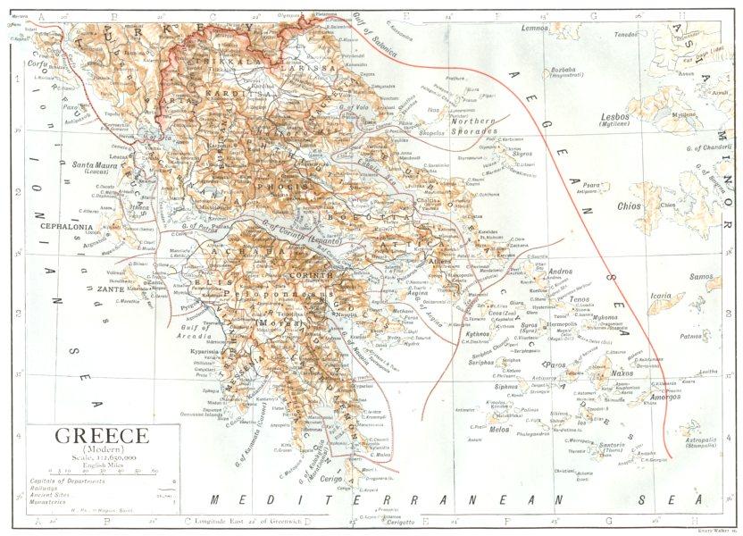 Associate Product GREECE. Greece(Modern) 1910 old antique vintage map plan chart