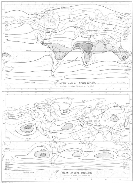 Associate Product MAPS. Climate; Annual distribution of temperature and pressure 1910 old
