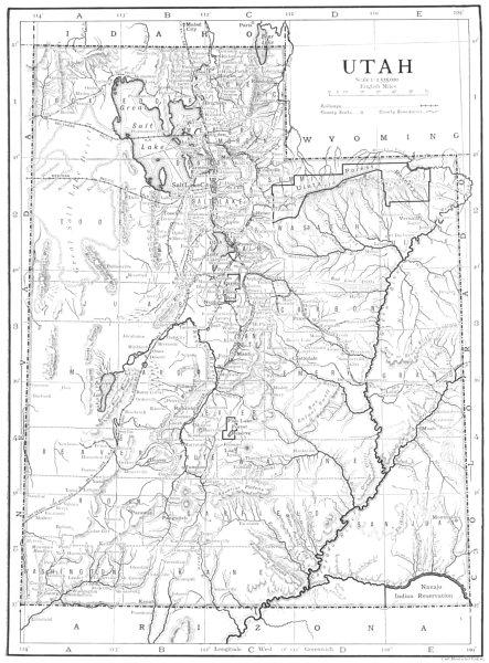 Associate Product UTAH. Utah 1910 old antique vintage map plan chart