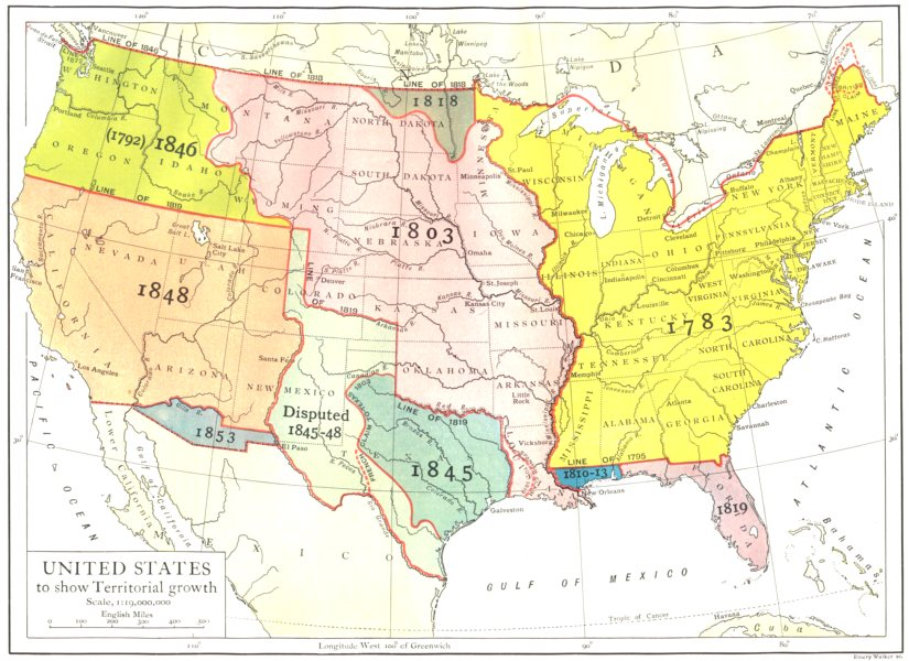 Associate Product USA. United States to show Territorial growth 1910 old antique map plan chart