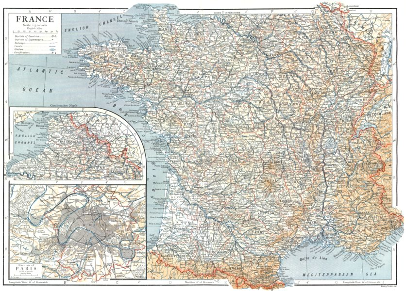 Associate Product FRANCE. France; Inset environs of Paris 1910 old antique map plan chart