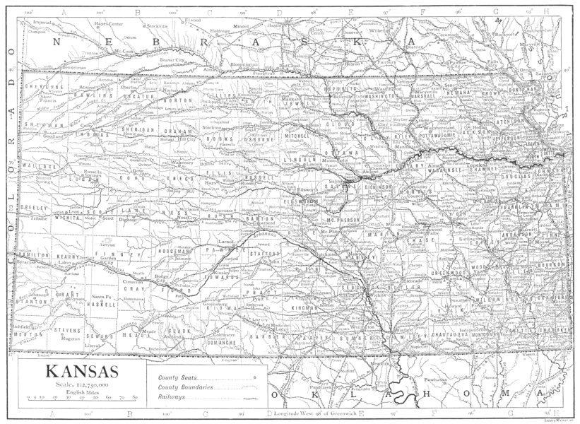 Associate Product KANSAS. State map showing counties 1910 old antique vintage plan chart