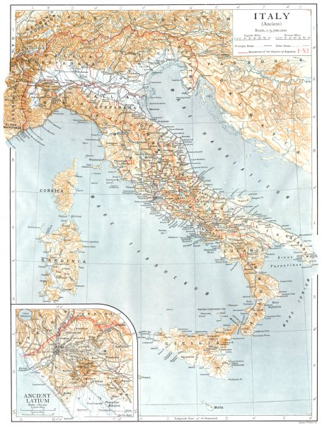 Associate Product ANCIENT ITALY. Inset map of Ancient Latium 1910 old antique plan chart