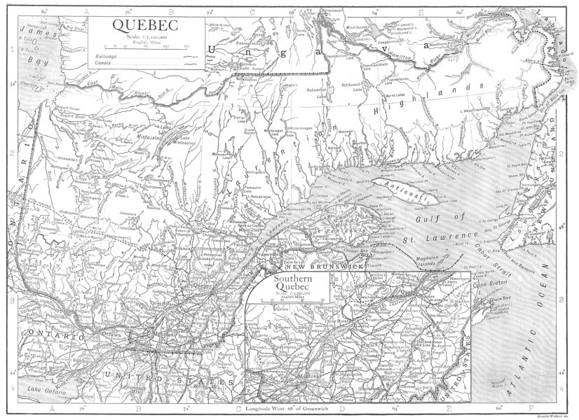 Associate Product CANADA. Quebec; Inset map of Southern Quebec 1910 old antique plan chart