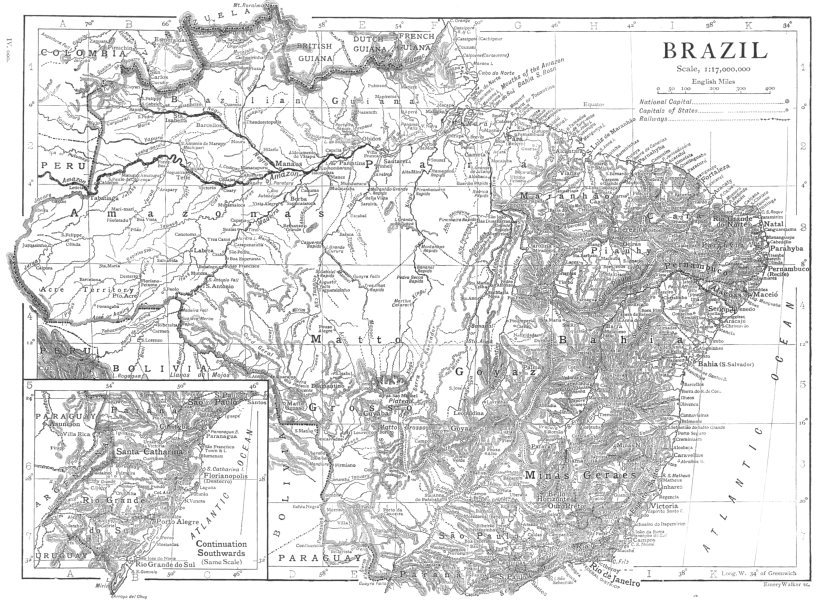 Associate Product BRAZIL. Brazil map 1910 old antique vintage plan chart