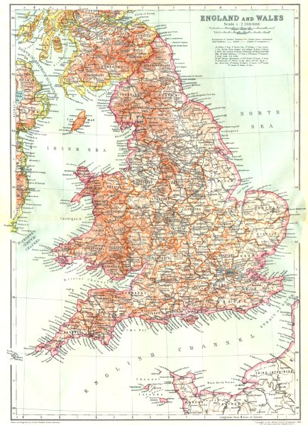 Associate Product ENGLAND. England & Wales 1910 old antique vintage map plan chart