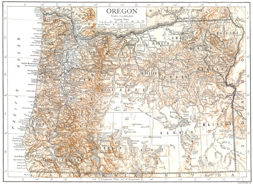 Associate Product OREGON. Oregon state map showing counties 1910 old antique plan chart