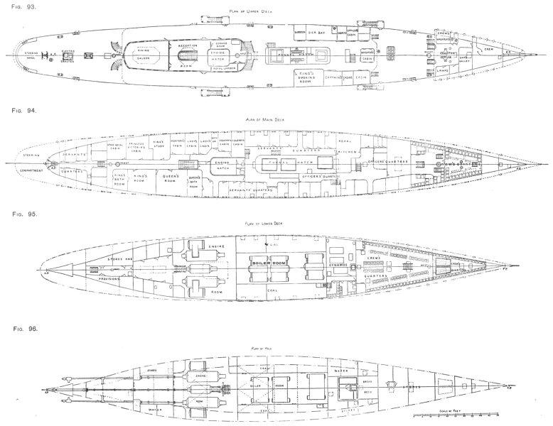Associate Product SHIPS. Plan of Upper Deck; main Deck; lower Deck; Hold 1910 antique print