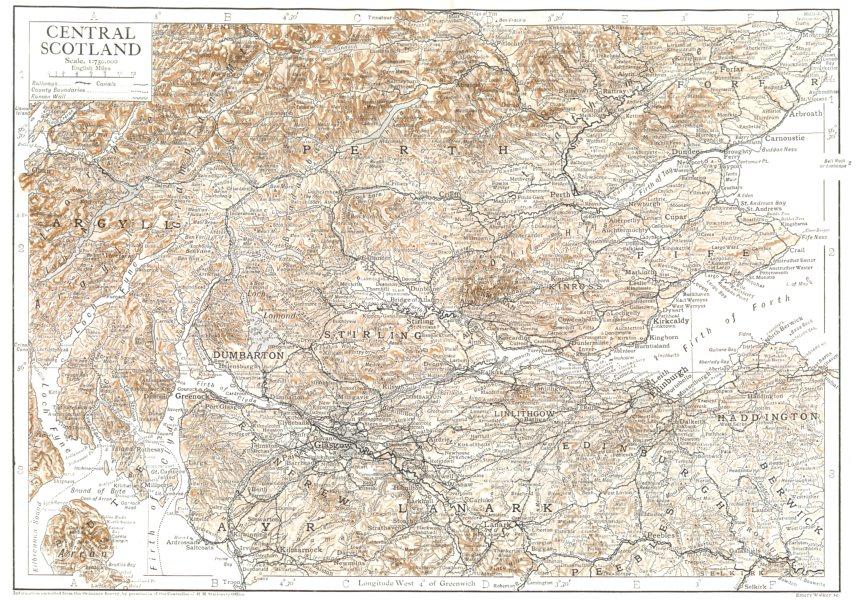Associate Product SCOTLAND. Central Scotland 1910 old antique vintage map plan chart