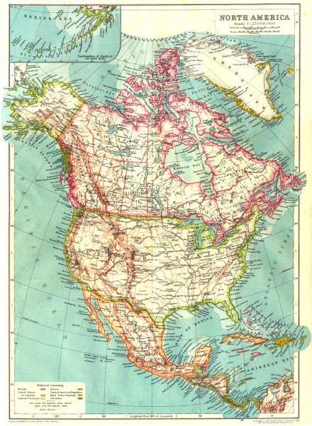 Associate Product NORTH AMERICA. USA Mexico Canada West Indies Central America 1910 old map