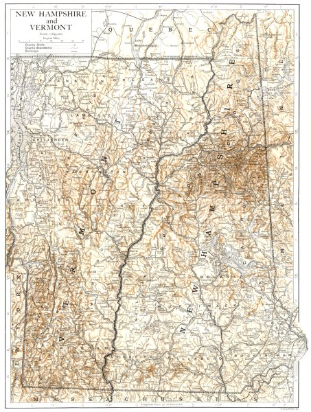 Associate Product New Hampshire and Vermont. state map showing counties 1910 old antique