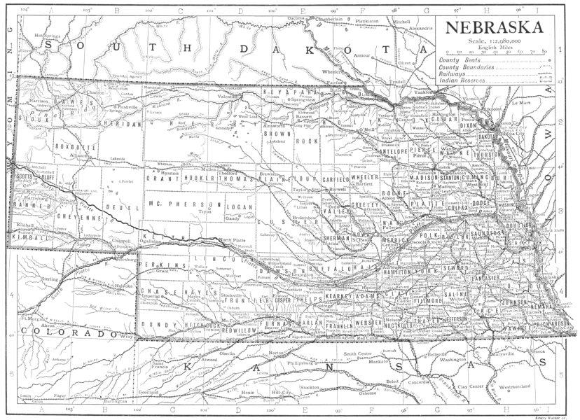 Associate Product NEBRASKA. Nebraska state map showing counties 1910 old antique plan chart
