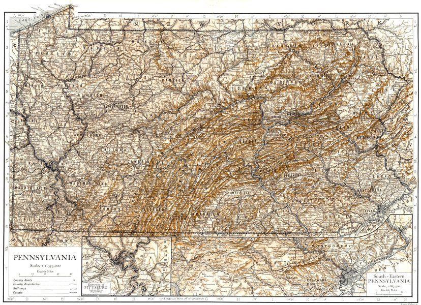 Associate Product PENNSYLVANIA. State map showing counties; Inset Pittsburg 1910 old antique