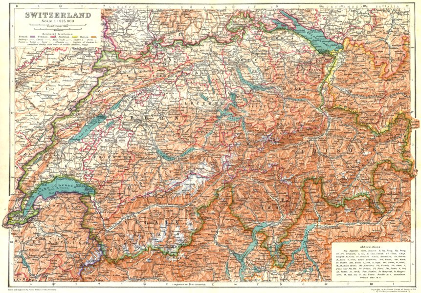 Associate Product SWITZERLAND. Switzerland Suisse Schweiz 1910 old antique map plan chart