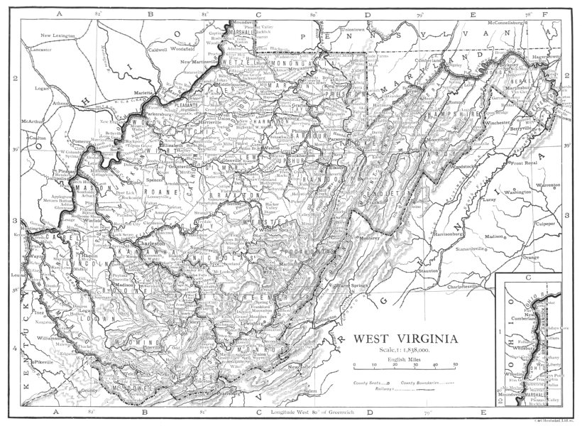 Associate Product WEST VIRGINIA. West Virginia state map showing counties 1910 old antique