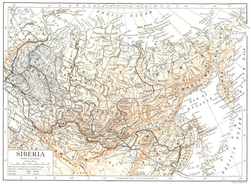 Associate Product RUSSIA. Siberia. Russia in Asia 1910 old antique vintage map plan chart