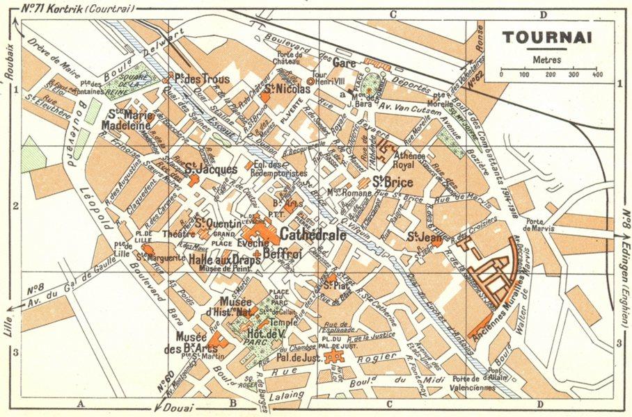 BELGIUM. Tournai 1950 old vintage map plan chart