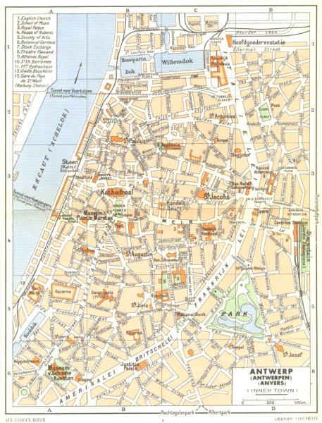 Associate Product BELGIUM. Antwerp (Antwerpen)  (Anvers)  (Inner Town)  1950 old vintage map