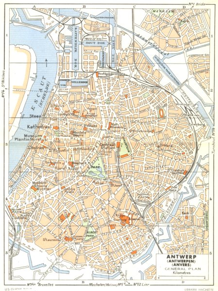 Associate Product BELGIUM. Antwerp (Antwerpen)  (Anvers) General plan 1950 old vintage map chart