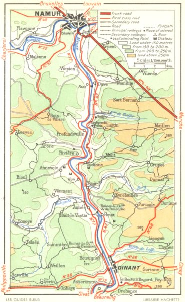 Associate Product BELGIUM. Meuse valley-from Dinant to Namur 1950 old vintage map plan chart