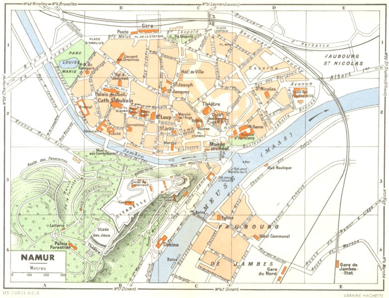 Associate Product BELGIUM. Namur 1950 old vintage map plan chart