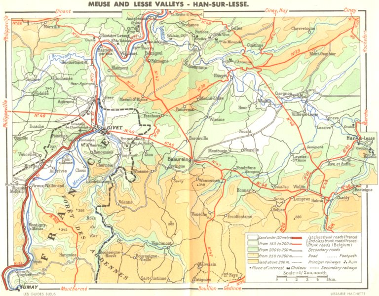 Associate Product BELGIUM. Meuse and Lesse valleys-Han-sur-Lesse 1950 old vintage map plan chart