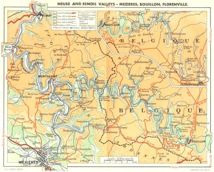 Associate Product BELGIUM. Meuse Semois valleys-Mezieres, Bouillon, Florenville; map Belgique 1950