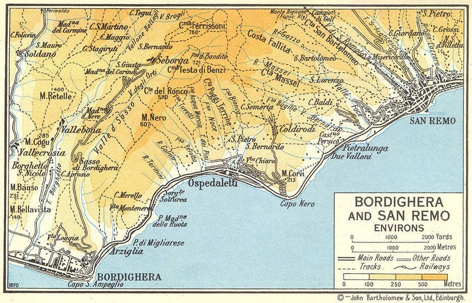 Associate Product Bordighera and San Remo Environs 1960 old vintage map plan chart