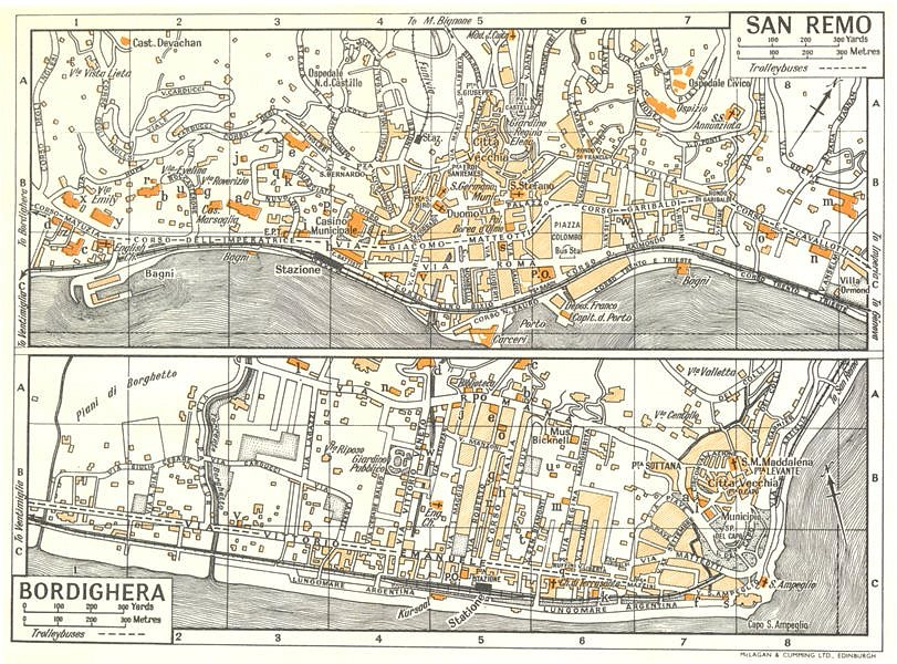 Associate Product SAN REMO; BORDIGHERA town/city plan. Italy 1960 old vintage map chart
