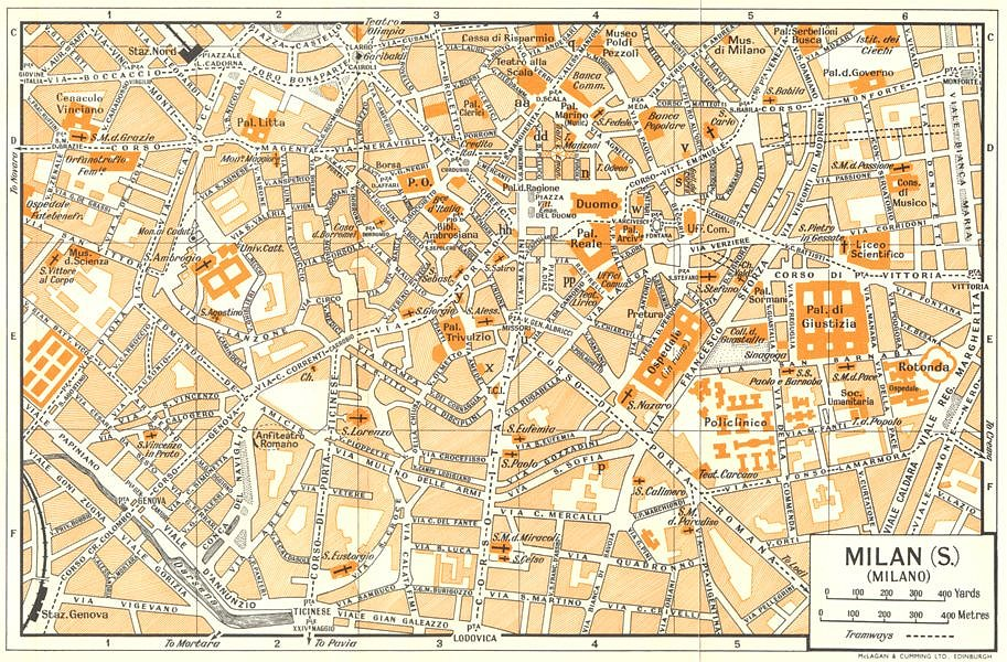 Associate Product MILAN, S town/city plan. Milano. Italy 1960 old vintage map chart